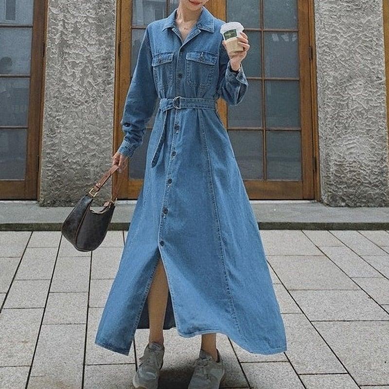 高身長女子のために♡コート代わりにもなるマキシ丈のデニムワンピース