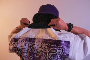 SMOKING 6B BIG BANDANA S/S Open Collar Shirt [ WHITE x PURPLE ]