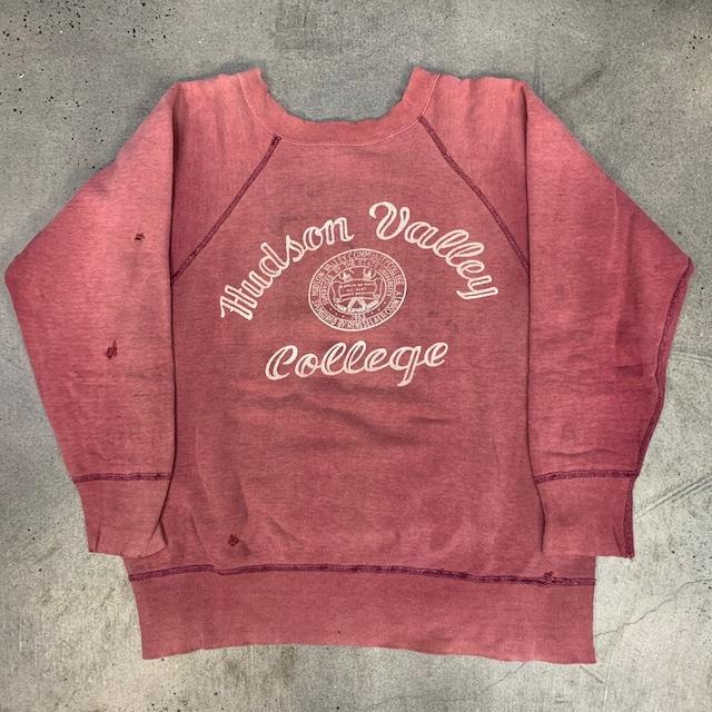 50's 60's UNKOWN ラグランスウェットシャツ Hudson Valley Community College エンジ フェード ダメージ有り S~M位 希少 ヴィンテージ BA-1346 RM1715H