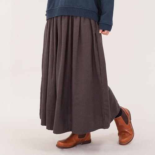 【FAIR TRADE】フランネル素材の肌に優しいロングスカート (ブラウン)(グリーン)