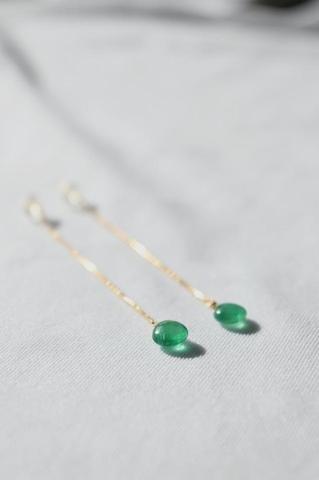 K18 Emerald Long Chain Earrings 18金エメラルドロングチェーンピアス