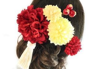 紅白色の縁起花簪セット髪飾り*成人式*結婚式