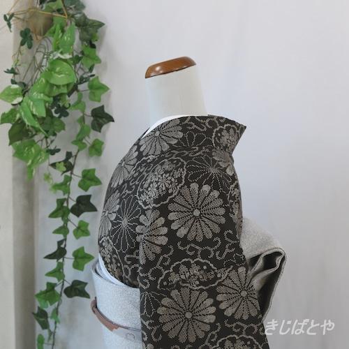 大島紬 涅色(くりいろ)に菊唐草の小紋 袷