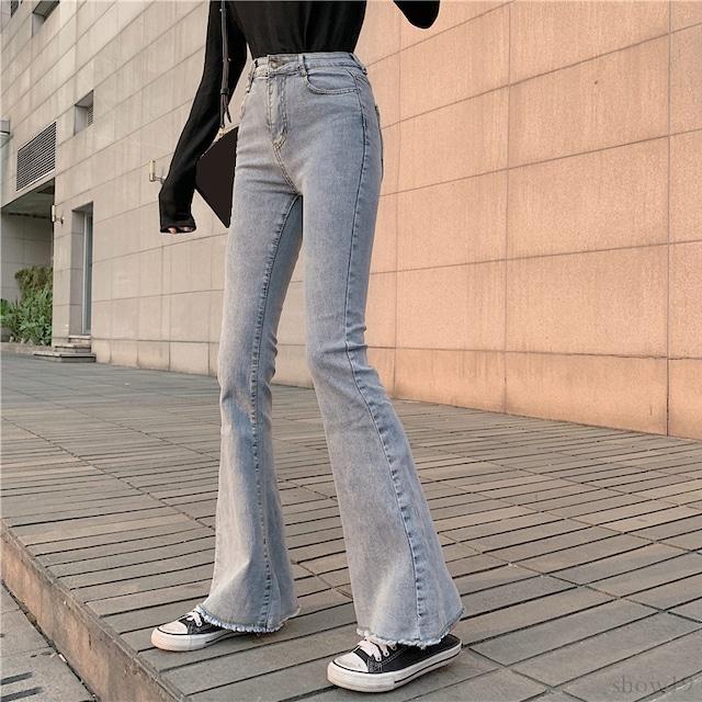 【楽な着用感】【ボトムス】韓国系細見え無地INS風 ゆったり存在感アップ   デニムパンツ33942300