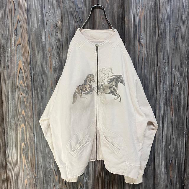 [used]horse design sweat jacket
