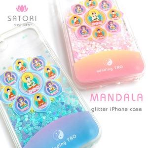 ほんわか曼荼羅 グリッターiPhoneケース[ピンク/ブルー]〈仏像グッズ〉