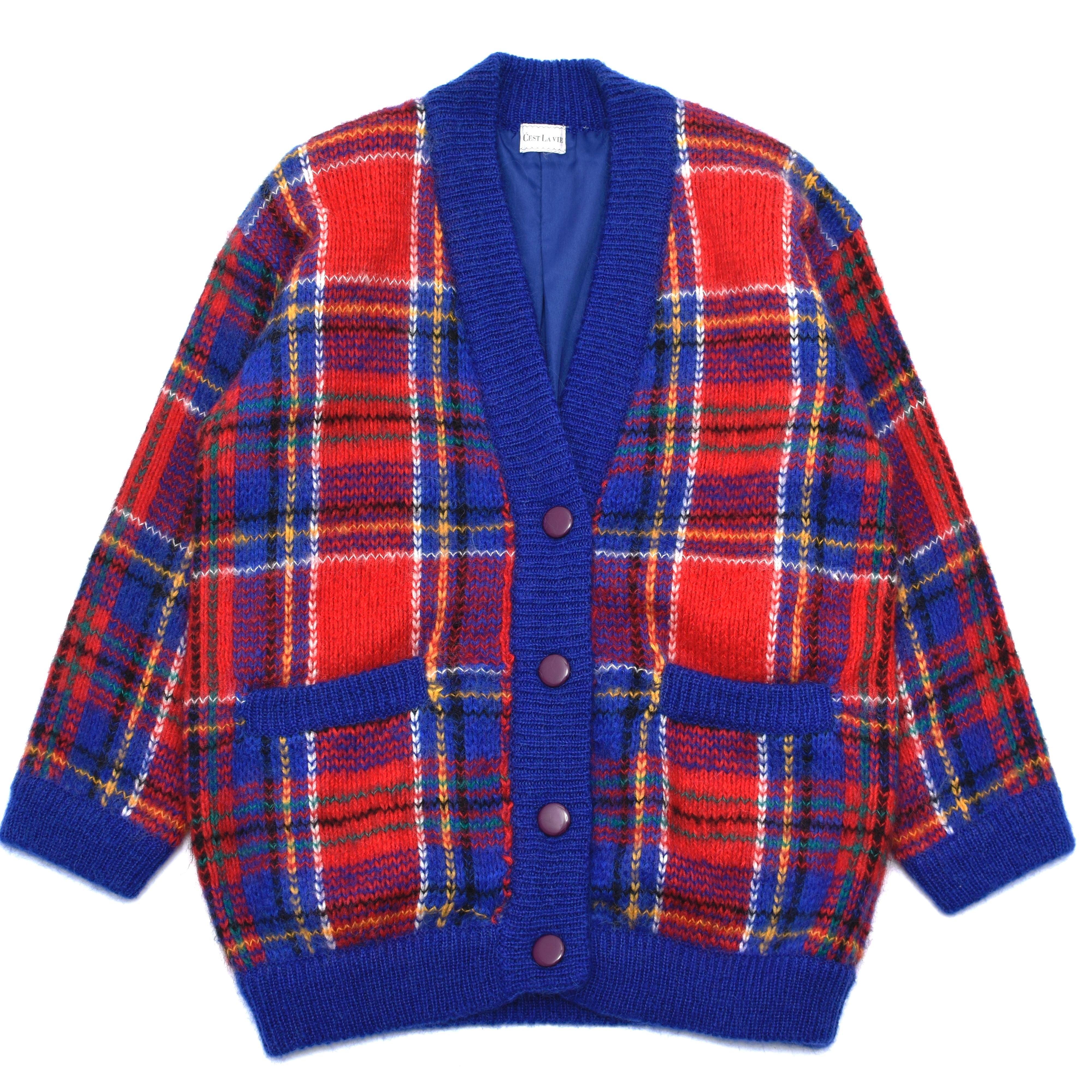 Unisex Check wool knit cardigan