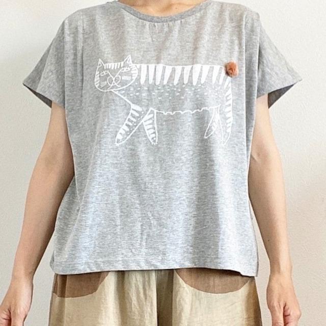 emoemo tシャツ しっぽつき猫 / ライトグレー EMT002
