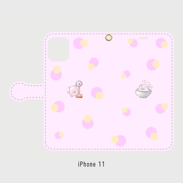 iPhone 11~iPhone6/6s/7/8 対応 表面印刷 手帳型スマホケース ピンク とん汁ぷくちゃん