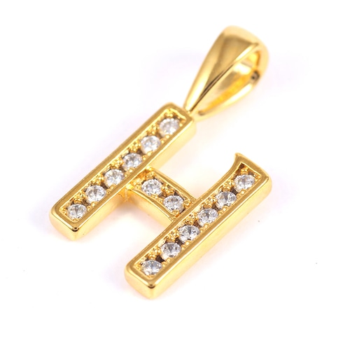 K18GP 【H】ダイヤモンドアルファベット パヴェ チャーム
