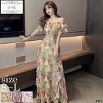 No.1341 韓国ワンピース きれいめワンピース 大人可愛いワンピース フレアワンピース 花柄ワンピース 3color