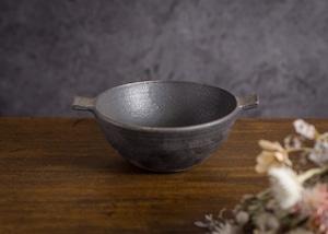 耳付きスープボウル 黒 大サイズ(スープ皿・ボウル)/山本雅則