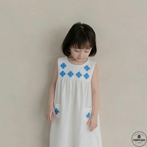 «sold out» La camel petit one piece 2color 刺繍リネンワンピース