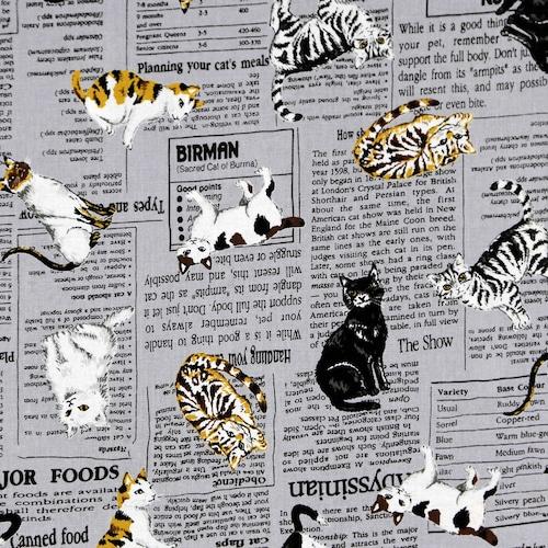 猫ナプキンバンダナ(猫新聞)グレー
