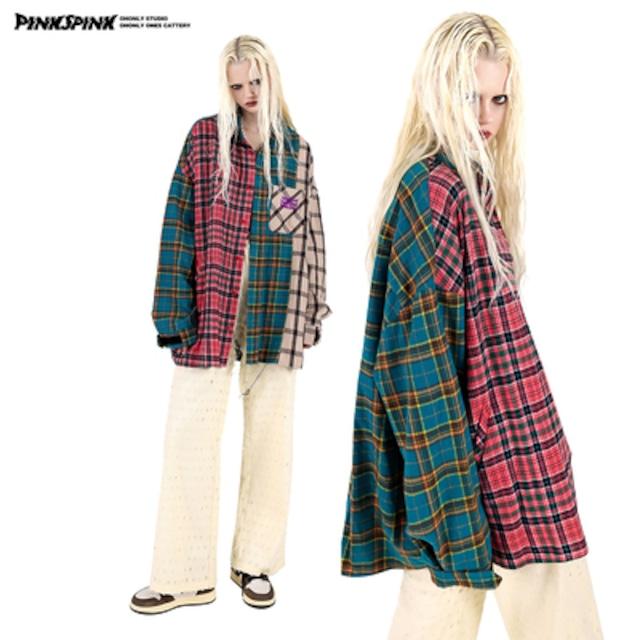【PINKSPINK】オーバーサイズドッキングチェックネルシャツ