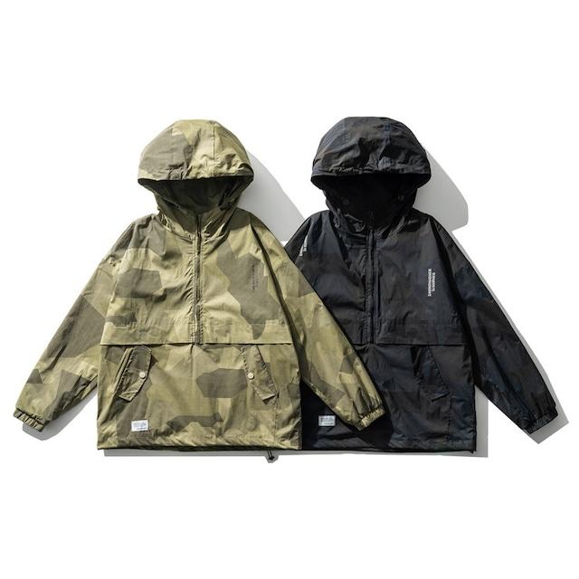【UNISEX】カモフラージュ アウトドア プルオーバー ライト ジャケット【2colors】UN-553
