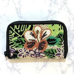ラウンド小財布099ハイビスカス柄ビーズ刺繍