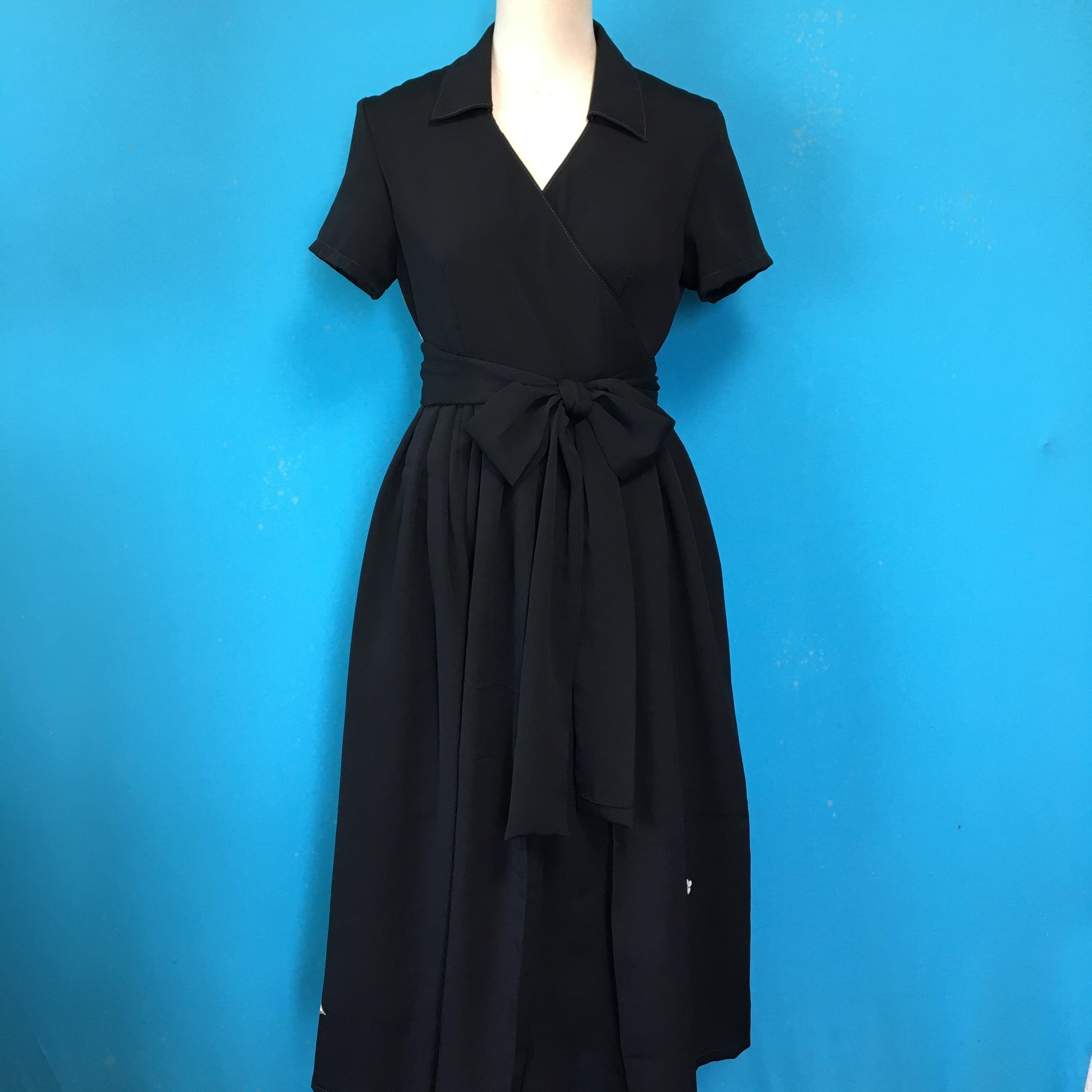 Vintage black wrap dress 刺繍 US 6