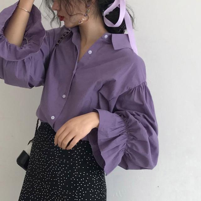 【トップス】美人度アップ  可愛いデザイン エレガント シンプル 無地 シャツ50580268