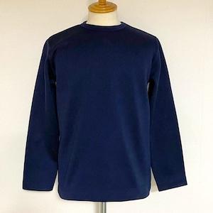 Sweater Fleece Melange Crewneck Knit-sew Navy