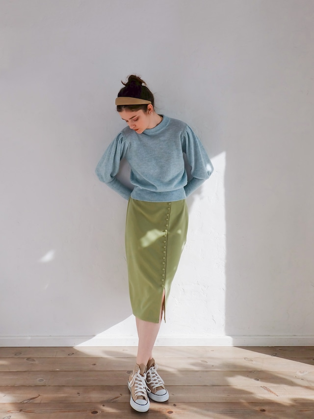 slit covered button skirt(yellow green)