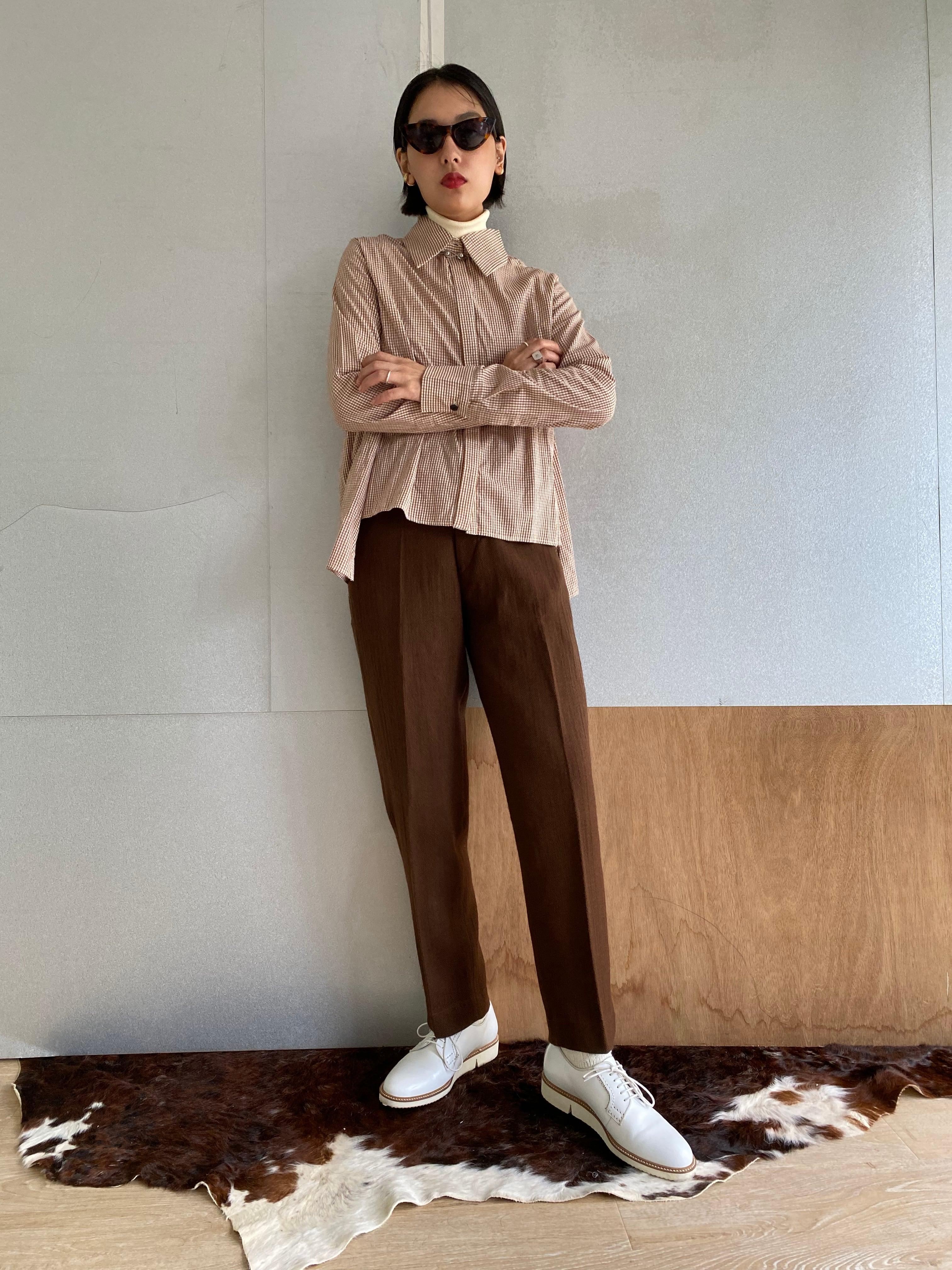 "High waist trousers ""brown"" khadi wool"