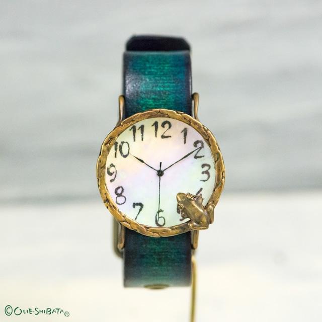 池をのぞく蛙腕時計Lオーロラ