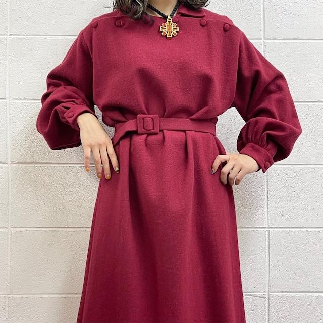 80年代 ウール デザインワンピース アメリカ古着