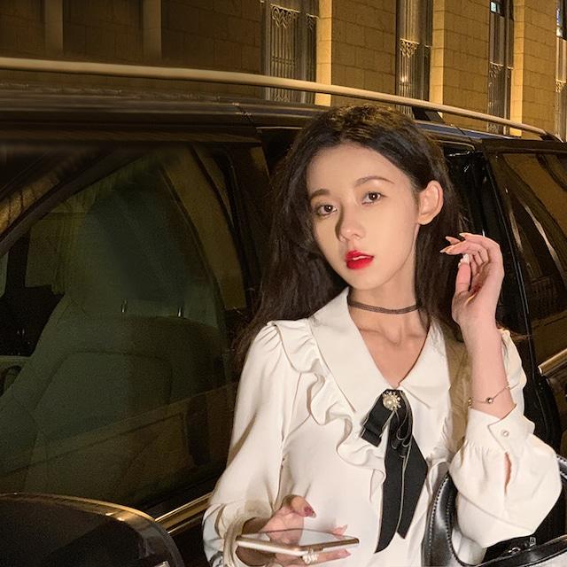 【KEKEシリーズ】★セットアップ単品注文 ★ シャツorスカート 可愛い 長袖 気質アップ 通勤 デート S M L 黒 白