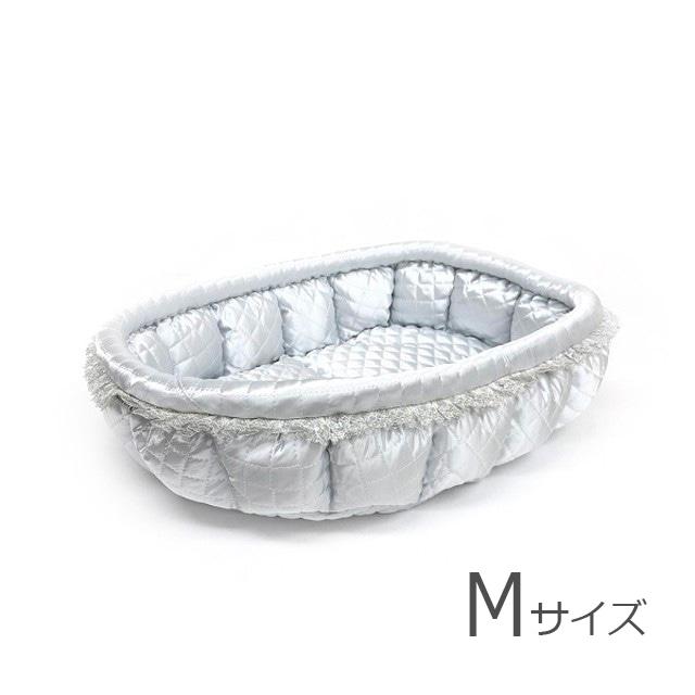 ふーじこちゃんママ手作り ぽんぽんベッド(サテンシルバー)Mサイズ 【PB22-078M】