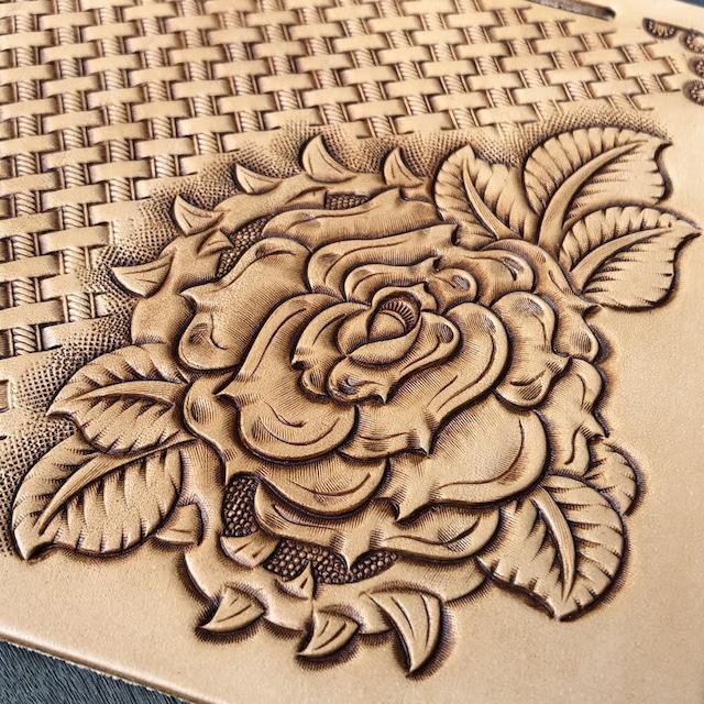 【iPhoneケース】各種対応 花一輪  手帳型ケース 薔薇/バラ フラワーカービング イタリアンレザー使用 ハンドメイド H001FC-ROSE