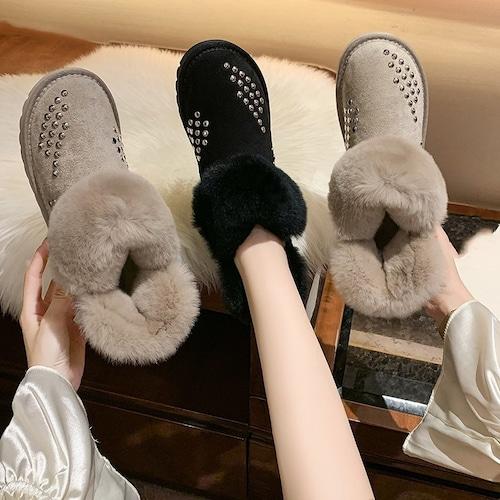 ムートンブーツ ファーブーツ スタッド 23.0〜25.5cm 韓国ファッション レディース ファー ブーツ もこもこ 防寒 カジュアル ガーリー 631252901339
