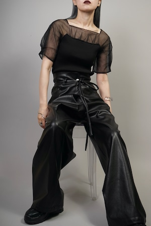 SEE-THROUGH SWITCHING KNIT TOPS  (BLACK) 2106-32-27