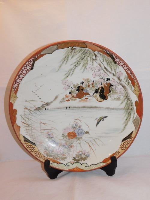 九谷色絵花見文 皿 Kutani porcelain  plate