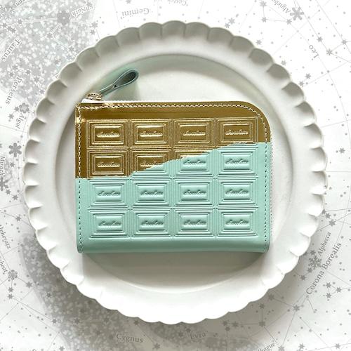 革のミントチョコ ファスナーミニ財布 (金の包み紙)