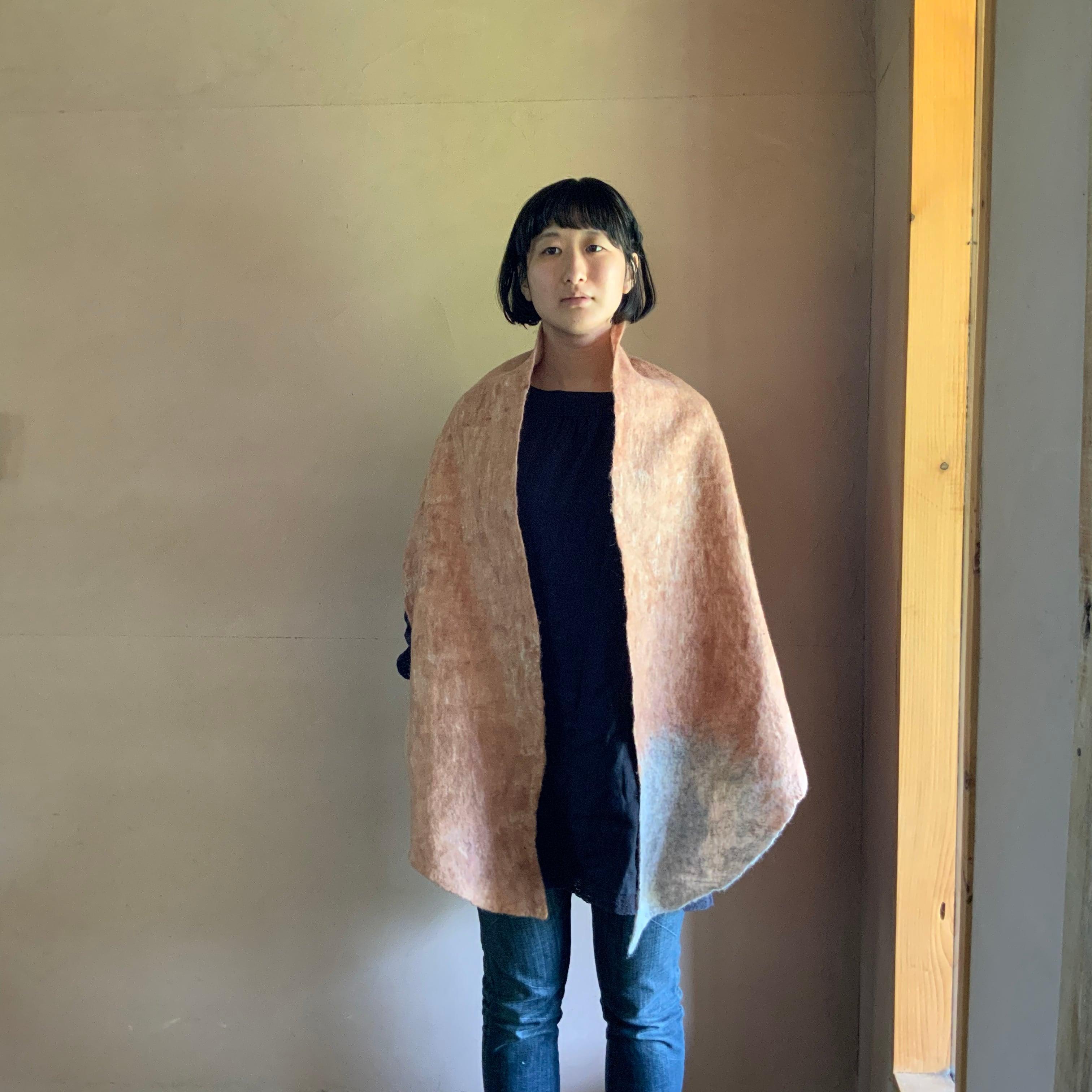 SWTLD21004 しっぽショール ピンク × グレー