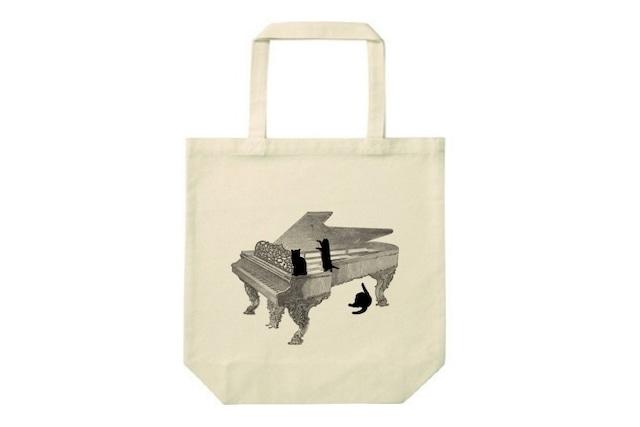 ピアノと黒猫のトートバッグ