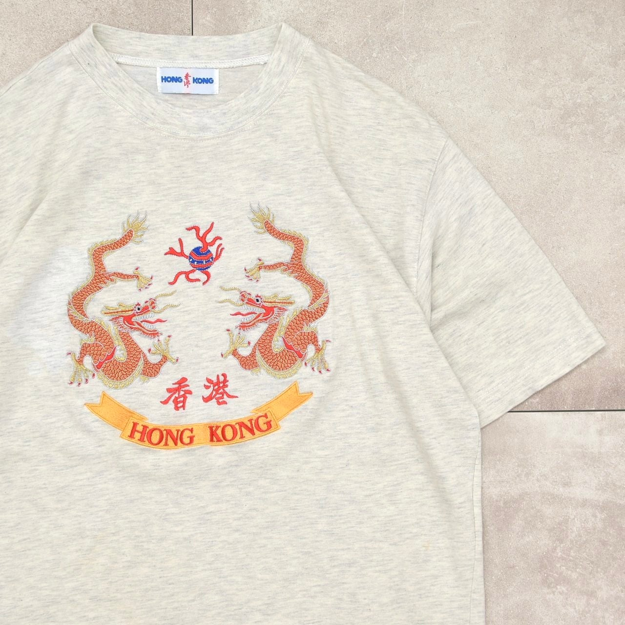 香港 HONG KONG & Dragon embroidery T-shirt
