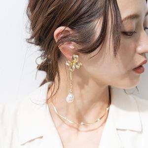 EARRINGS || 【通常商品】SMALL FLOWER &  YURARI BALL EARRINGS || 1 EARRINGS || GOLD || FCF173