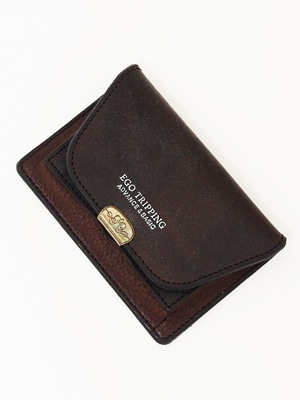 EGO TRIPPING×Dual SADDLE LEATHER CARD CACE / DARK BROWN 692808-36