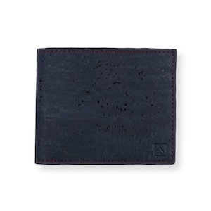 VEGAN  COIN WALLET  BLUE / 二つ折り財布 ブルー&ブラウン コルク製 小銭入れ付き