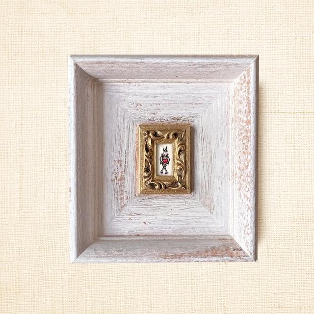 <残2点>ミニ額縁 原画【 愛の配達人 】big size frame・ホワイトxゴールド