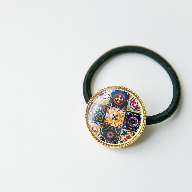 天然貝ヘアゴム(マジョリカ)簡単可愛いまとめ髪に★シェル・螺鈿アート ヘアアクセサリー