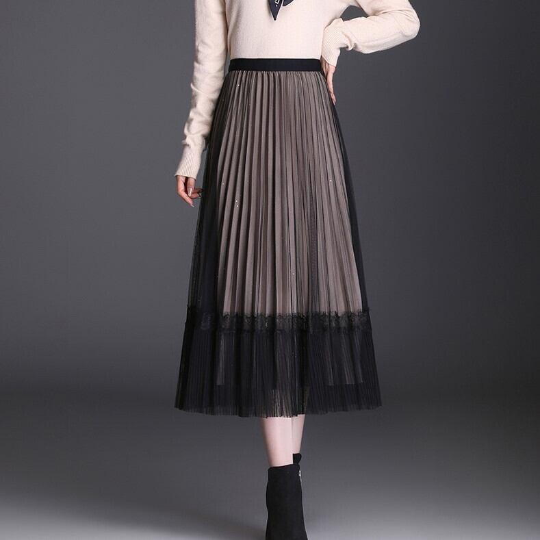 裾レースチュールプリーツスカート
