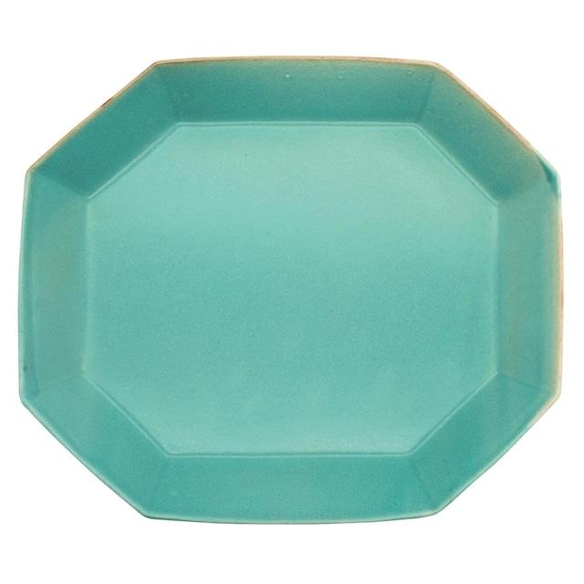 笠間焼 向山窯 ベリル プレート 皿 L 約25×22cm トルコブルー 255756