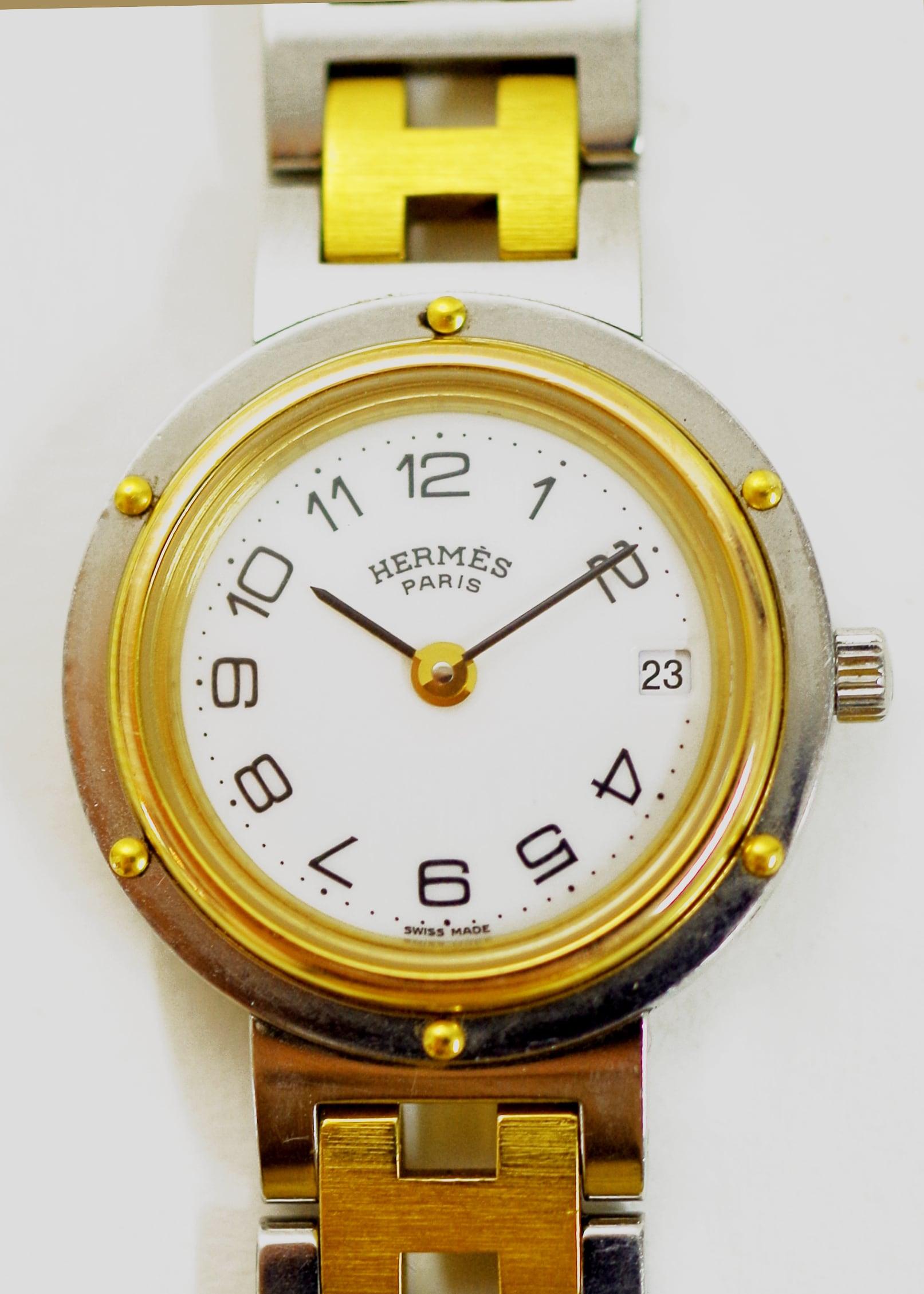 HERMES エルメス クリッパー 旧タイプ コンビ クオーツ ホワイト 腕時計 レディース