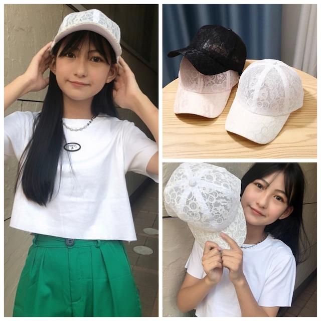 3カラー★ 帽子 キャップ レース シースルー ガーリー