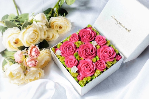 【Elegant Pink】Anniversaryボックスフラワーケーキ