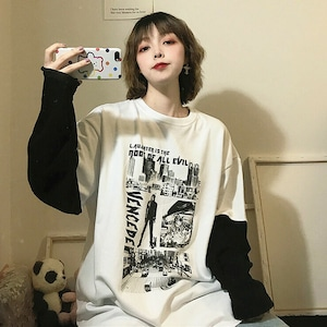 【トップス】カジュアル切り替えプリント配色長袖Tシャツ42919979