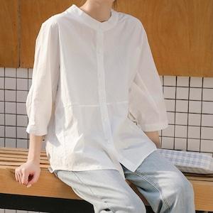 シンプルラウンドネックホワイトシャツ S3681